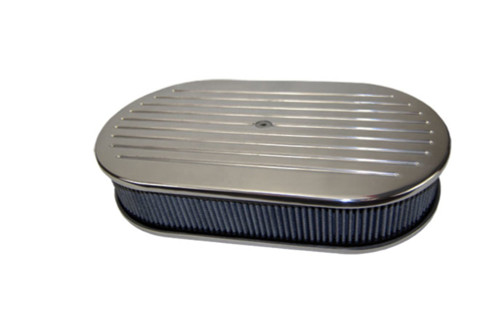 """15"""" Ball Milled Polished Aluminum Oval Air Cleaner w/ Washable Filter Chevy Ford"""