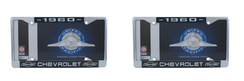 1960 Chevy Chrome License Plate Frame with Bowtie Blue / White Script, Set of 2