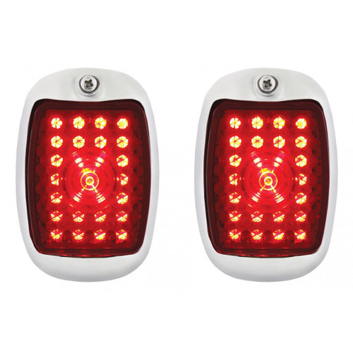 1937-38 Chevy Car LED Sequential Tail Lights Black Assembly w/ Flasher, Pair