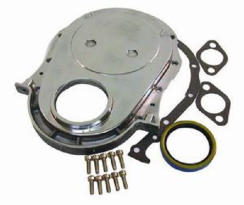 Polished Aluminum BBC Chevy Timing Chain Cover Kit