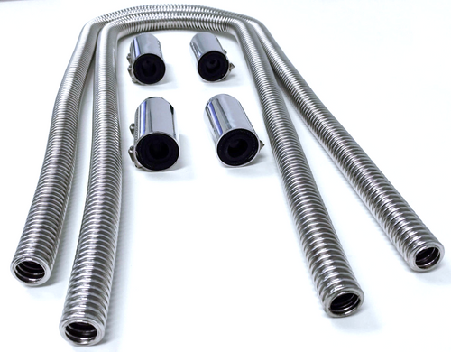 """44"""" Chrome Stainless Steel Heater Hose Kit w/ Polished Aluminum End Caps"""