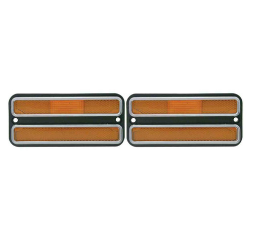 (2) Amber Front Clearance Side Marker Light Housings, Fits Chevy 1968-1972 Truck