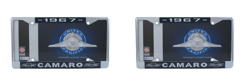 """1967 Chevy """"Camaro"""" Chrome License Plate Frame with Year and Bowtie, Set of 2"""