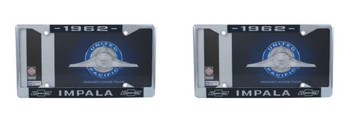 DISCONTINUED 1962 Chevy Impala Chrome License Plate Frame W/ Blue and White Script, Set of 2