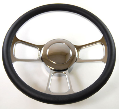 """Hot Rod 14"""" Chrome Billet """"T"""" Style Steering Wheel Package W/Leather Grip"""