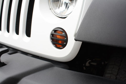 Black PowderCoat Billet Front Marker Light Surrounds Pr, Compatible with Jeep Wrangler JK 2007-15