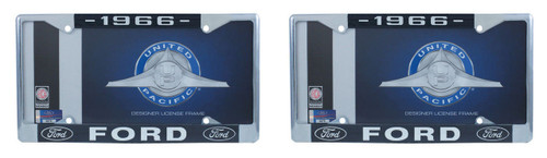 1966 Ford License Plate Frame Chrome Finish with Blue and White Script, Set of 2
