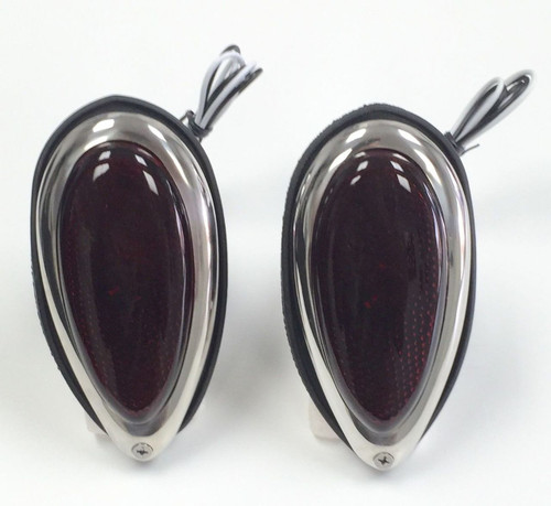 1938-39 Ford Tear Drop Tail Lights W/ Red Glass Lens Pair