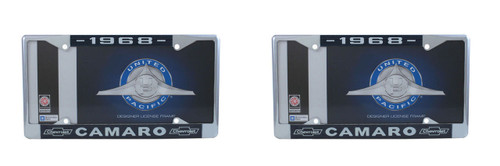 """1968 Chevy """"Camaro"""" Chrome License Plate Frame with Year and Bowtie, Set of 2"""