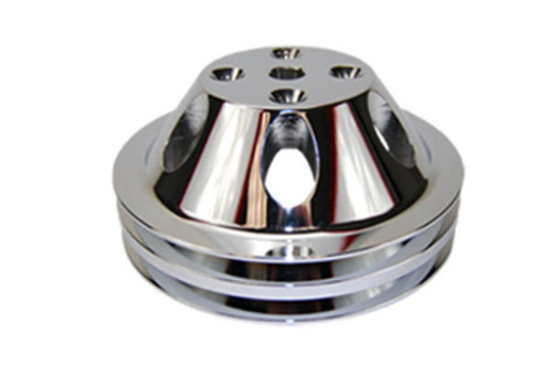 SBC Chevy 283-350 Polished Aluminum LWP Double Groove Water Pump Pulley