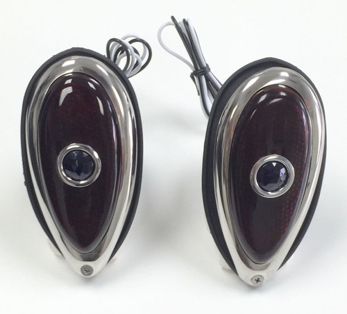 1938-39 Ford Tear Drop Blue Dot Tail Lights, Pair