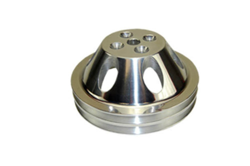 SBC Chevy 283-350 Polished Aluminum SWP Double Groove Water Pump Pulley