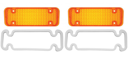 (2) 1971 - 1972 Chevy Truck Parking Light Lenses With Gaskets, Amber Lens, Pair
