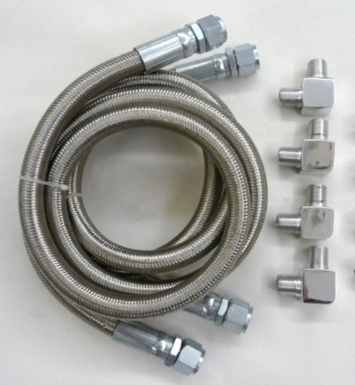 Single Pass Transmission Cooler Stainless Braided Hose & Fitting Kit