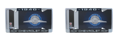 1940 Chevy Chrome License Plate Frame with Bowtie Blue / White Script, Set of 2