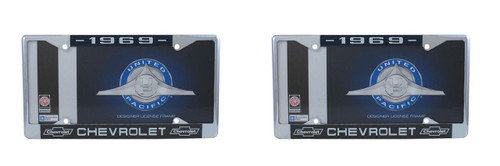 DISCONTINUED 1969 Chevy Chrome License Plate Frame with Bowtie Blue / White Script, Set of 2