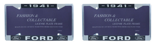 1941 Ford License Plate Frame Chrome Finish with Blue and White Script, Set of 2