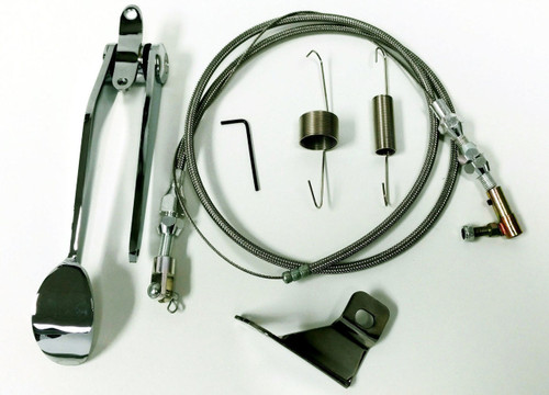 Hot Rod Chrome Steel Spoon Throttle Pedal Kit W/ Braided Cable, Return Spring