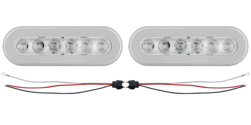 "(2) 22 Red Led 6"" Oval ""Glo"" S/T/T Light - Clear Lens - Universal Trailer Truck"