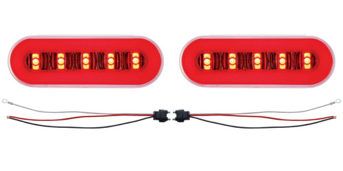 "(2) 22 Led 6"" Oval ""Glo"" Light - Red Led / Red Lens / Clear Center - Universal"