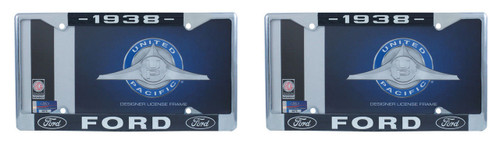 1938 Ford License Plate Frame Chrome Finish with Blue and White Script, Set of 2