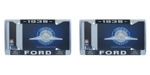 1935 Ford License Plate Frame Chrome Finish with Blue and White Script, Set of 2