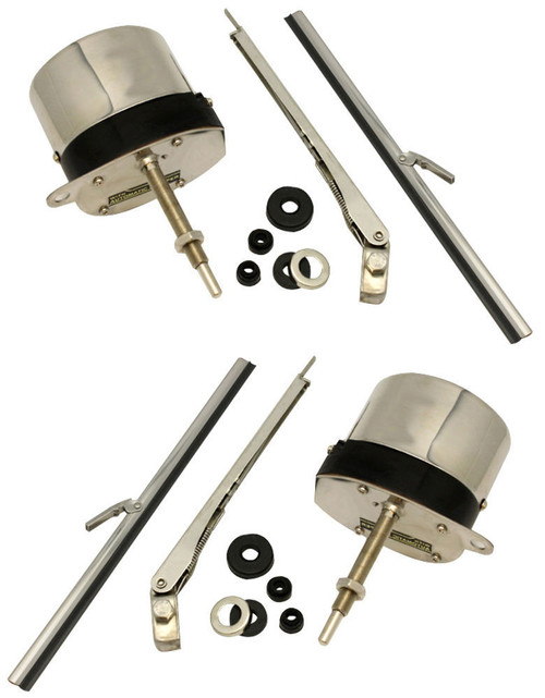 12V Stainless Windshield Wiper Motor Kit, Pair, Universal