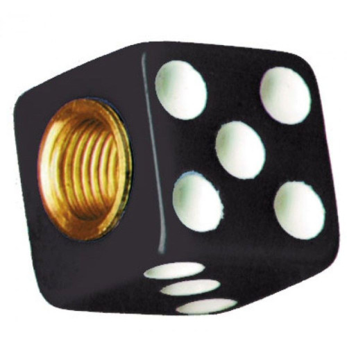 Black Dice w/ White Dots Valve Caps For Tires and Wheels, Standard Fit, Set of 4