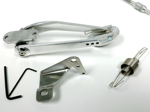 """Hot Rod Billet Oval Throttle Pedal Kit W/ 36"""" SS Braided Cable, Return Spring V8"""