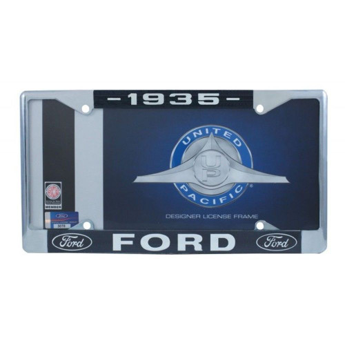 1935 Ford License Plate Frame Chrome Finish with Blue and White Script