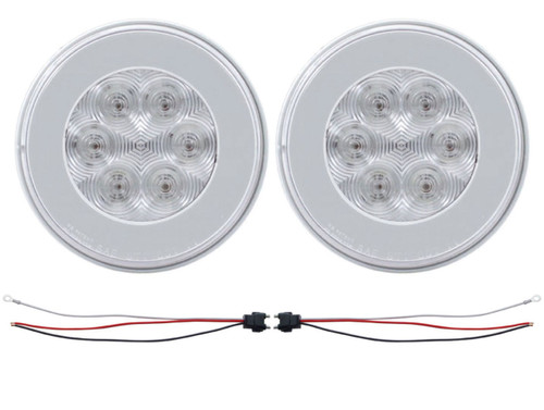 "(2) 21 Red Led 4"" Round ""Glo"" S/T/T Light - Clear Lens - Universal Trailer RV Tr"
