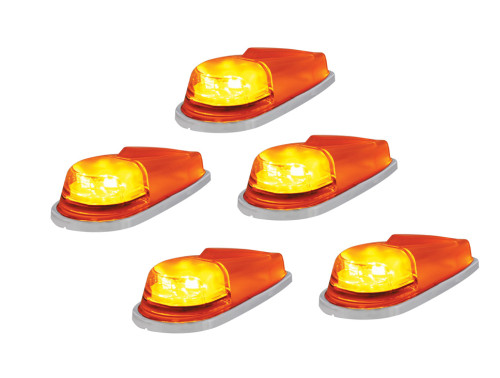 (5) 6 LED Pickup Cab Marker Lights - Amber LED with Amber Lens
