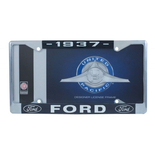 1937 Ford License Plate Frame Chrome Finish with Blue and White Script