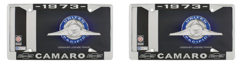 """1973 Chevy """"Camaro"""" Chrome License Plate Frame with Year and Bowtie, Set of 2"""