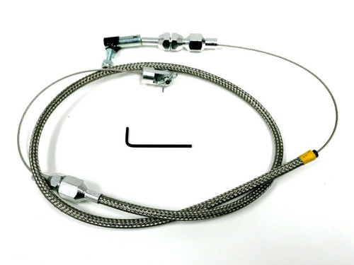 """36"""" Stainless Throttle Cable W/ 24"""" Stainless Braid For Hot Rod, Rat Rod, Custom"""