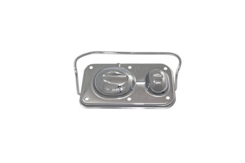 """Chrome Master Cylinder Cover Steel Chevy GM 3""""x5-5/8"""" Single Bail V8 67-80"""
