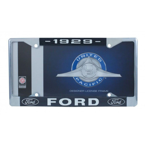 1929 Ford License Plate Frame Chrome Finish with Blue and White Script