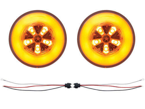 "(2) 18 Led 4"" Round ""Glo"" Light - Amber Led/Amber Lens - Universal Trailer Truck"