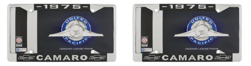"""1975 Chevy """"Camaro"""" Chrome License Plate Frame with Year and Bowtie, Set of 2"""