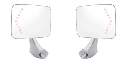 (2) 1970-1972 Chevy Square Rectangle Led Turn Signal Chrome Side Mirrors, PAIR