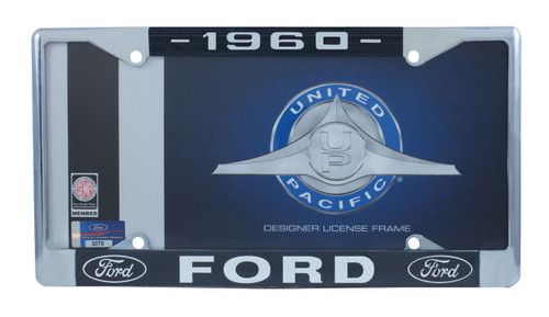 1960 Ford License Plate Frame Chrome Finish with Blue and White Script
