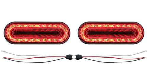 """(2) 24 Led 6"""" Oval S/T/T & P/T/C """"Mirage"""" Light - Red Led/Clear Lens - Universal"""