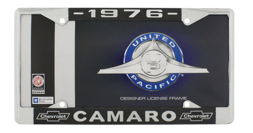 """1976 Chevy """"Camaro"""" Chrome License Plate Frame with Year and Chevrolet Bowtie"""