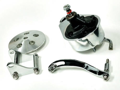 Power Steering Pump w/ Bracket & Pulley, Chrome Saginaw Style, SBC Chevy