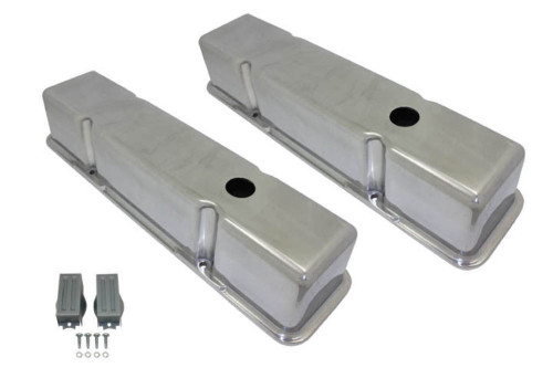 1958-86 SBC Chevy Polished Aluminum Smooth Valve Covers with Hole Tall 283-400