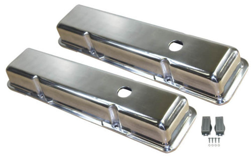 1958-86 SBC Chevy Polished Aluminum Smooth Valve Covers with Hole Short 283-400