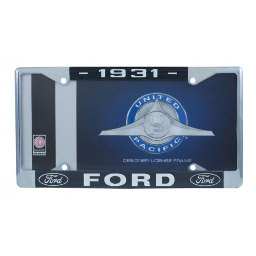 1931 Ford License Plate Frame Chrome Finish with Blue and White Script