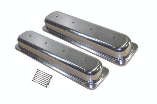 1987-97 SBC Chevy Polished Aluminum Smooth Valve Covers w/o Hole Short 5.0-5.7L