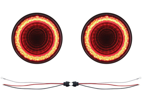"""(2) 24 Led 4 """" Round S/T/T & P/T/C """"Mirage"""" Light - Red Led/Clear Lens - Trailer"""