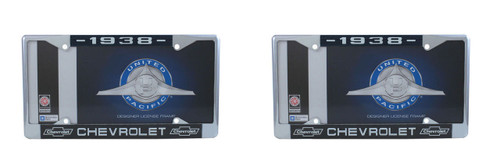 1938 Chevy Chrome License Plate Frame with Bowtie Blue / White Script, Set of 2